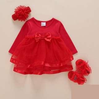 Instock - red romper dress, baby infant toddler girl children sweet kid happy abcdefghjikmnop