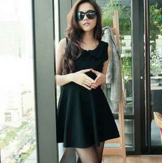 Black Korean Dress With Black Lovely Lace Collar
