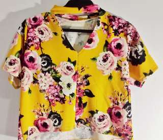 Yellow Floral V neck