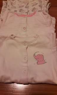 3-6m Mothercare Sleepsuits set of 3