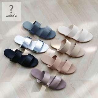 Korea 👡 時尚馬卡龍配色雙橫條拖鞋