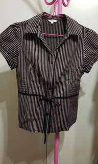 Dark brown striped blouse