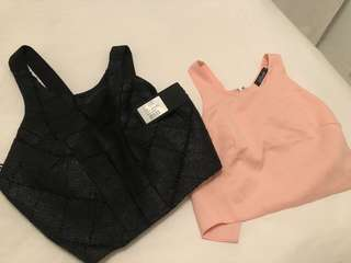 Two crop tops - black and pink