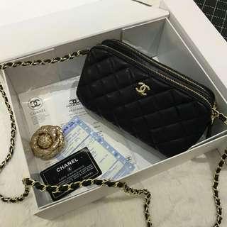 Chanel Lambskin Sling Bag Black