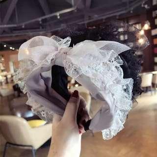 新款公主風蕾絲花邊蝴蝶結寬邊髮箍頭箍