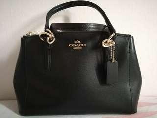 Coach 2way mini tote bag black leather