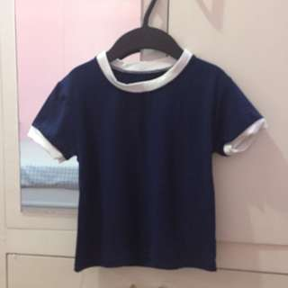 Crop top Blue and white Ringer tee