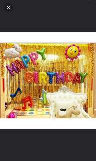 (in stock) BNIP 2.5m By 1m Gold Party Backdrop