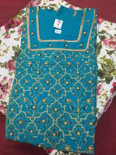 (BN) Promotion for this week-Blue Gold Design Worked Kurti