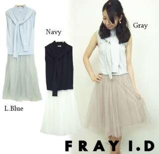 🚚 日本品牌正品貴婦品牌fray i.d 連身裙洋裝高領紗裙snidel姐妹牌