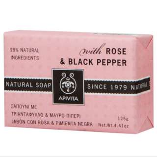 Apivita Natural Soap with Rose & Black Pepper 玫瑰與黑胡椒天然香皂 125G 緊膚瘦身