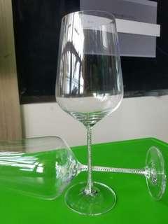 全新司華洛奇 杯腳鑲滿水晶 水晶杯2隻
