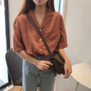 🚚 🌴日系單釦焦糖紅短襯衫❤️