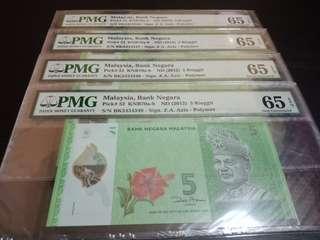 Malaysia 11th series RM5 Last Prefix 4 run