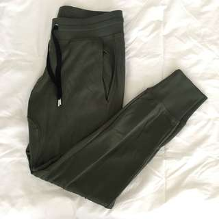 H&M Divided Dropped Crotch Sweatpants Army Green