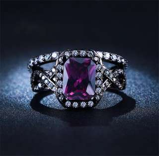 Purple Square Crystal Wedding Ring