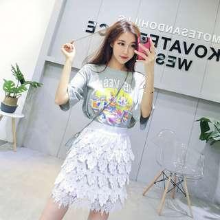 韓版學院風字母彩色圖案短袖t恤圓領百搭上衣