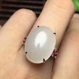 天然和田白玉戒指
