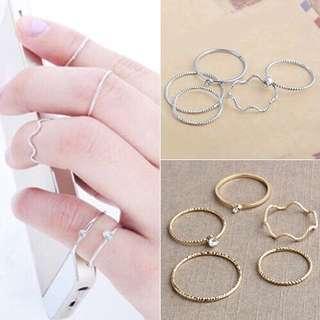 Korean fashion rings set of 5 brand new