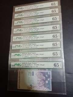 Malaysia 11th series RM1 0002222 - 0009999 PMG65EPQ