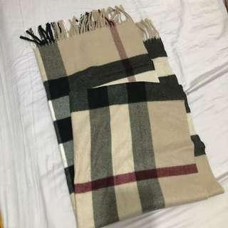 氣質 藕粉格紋圍巾/披肩