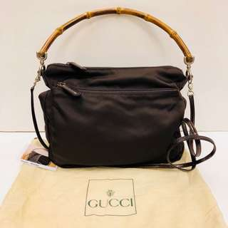 Vintage Gucci dark brown bamboo crossbody handbag