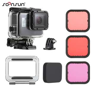 🚚 SOONSUN 45M Underwater Diving Waterproof Housing Case with Touch Backdoor and Magenta Red Lens Filter Kit Set for GoPro Hero 2018 / Hero 6 / Hero 5 Black Action Camera Accessories