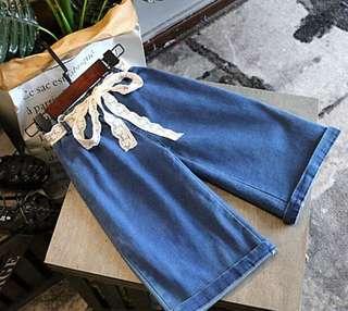 🚚 預購「7-15碼純色蕾絲女童闊腿褲童裝」