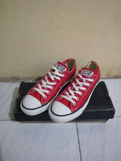 Converse Low Red Original 100% With Box Original. Kondisi Mulus Terawat