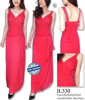 ILEE guava red ruched detail layered chiffon maxi dress