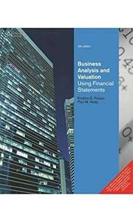 Business Analysis And Valuation 5th International Edition Textbook