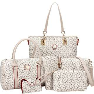 Womens 6pc set Luxury Leather Tote Bags