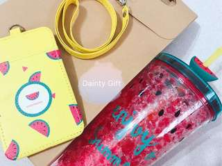 Red Watermelon Bottle with Yellow Landyard