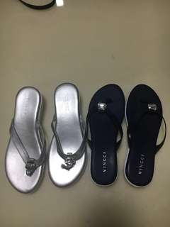 2-Pairs Vincci Ladies Sandals in Silver and Navy Colours