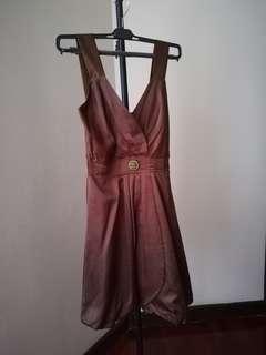 Brown cute elegant short dress gown dinner