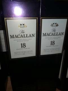 Macallan 18(1996)(1997)行貨3980一支