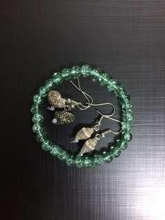 Bead bracelet + shell earrings