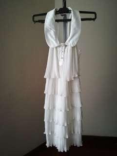 White cute elegant layered dress dinner gown short 3/4