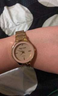 Anne Klein Gold watch with pink accent diamond collection
