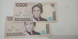 Jual uang lama 10ribu rupiah hanya 2 lembar