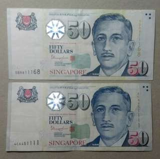 SGD 50 x2 nice and lucky number notes