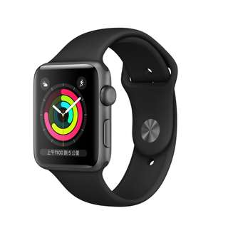 Apple Watch Series 3 GPS 42mm 太空灰色鋁金屬 黑色運動錶帶 全新未拆附收據