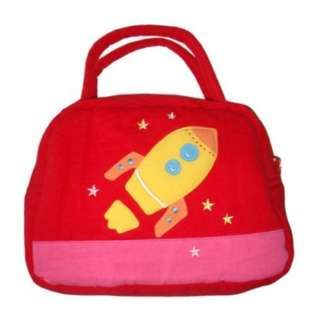 Rocket Boy Design Lunch Bag Cover Red 100% Cotton Canvas NEW