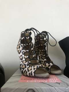 Zara - lace up leopard heels