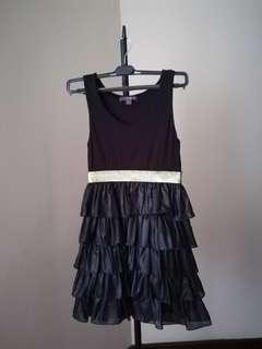 Cute elegant short little black half layered party dress gold waist