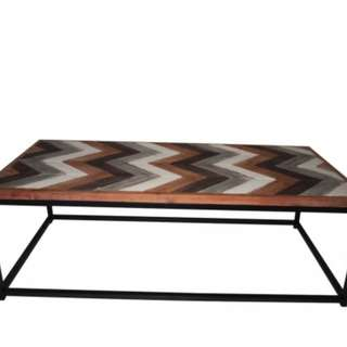 Wooden Coffee Table Contemporary Home Living Room Office Top Metal Frame