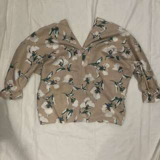 Peach floral batwing top