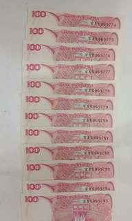Jual uang lama berseri 100rupiah tahun 1984