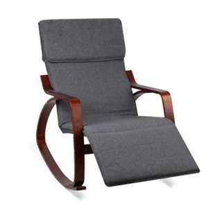 Fabric Rocking Arm Chair with Adjustable Footrest  Charcoal