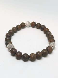 Matte finished Bronzite beads with silver zirconia embedded glitter balls bracelet.increases self confidence and protects frm pyschic attack